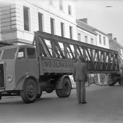Beam on the truck during renovation of Queen's Hall in 1952 Credit: Part of the North Devon Journal Collection held at the North Devon Athenaeum