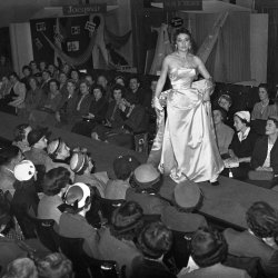 Fashion parade in Queens Hall 1950s CREDIT Part of the North Devon Journal Collection held at the North Devon Athenaeum