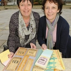 Sisters Julie Parker and Lynne Beer with scrap book of Queen's Hall shows. Credit: North Devon Journal